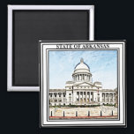 """Arkansas State Capitol Magnet<br><div class=""""desc"""">This design features a digital painting of the state capitol.</div>"""