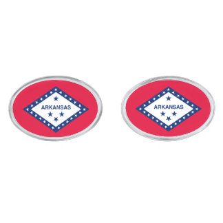 Arkansas State Flag Design Silver Cufflinks