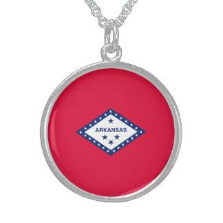 Arkansas State Flag Design Sterling Silver Necklace