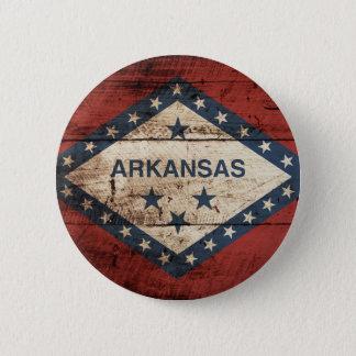 Arkansas State Flag on Old Wood Grain Button