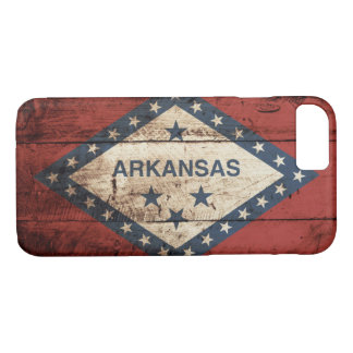 Arkansas State Flag on Old Wood Grain iPhone 7 Case