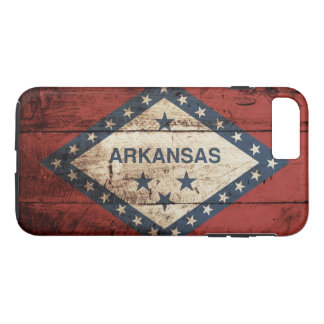 Arkansas State Flag on Old Wood Grain iPhone 7 Plus Case