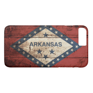 Arkansas State Flag on Old Wood Grain iPhone 8 Plus/7 Plus Case