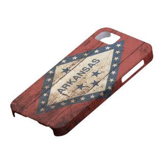 Arkansas State Flag on Old Wood Grain iPhone SE/5/5s Case