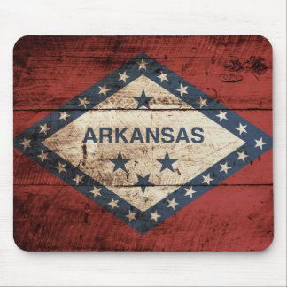 Arkansas State Flag on Old Wood Grain Mouse Pad