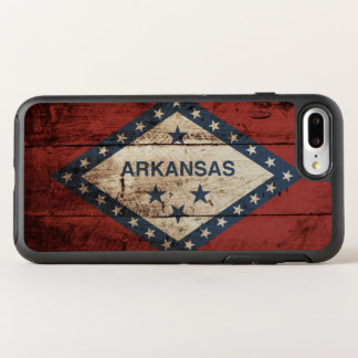 Arkansas State Flag on Old Wood Grain OtterBox Symmetry iPhone 7 Plus Case