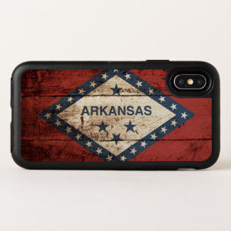 Arkansas State Flag on Old Wood Grain OtterBox Symmetry iPhone X Case