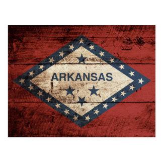 Arkansas State Flag on Old Wood Grain Postcard