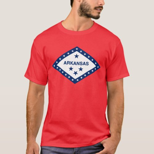 Arkansas State Flag On Red T_Shirt