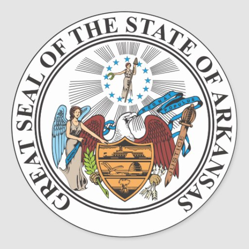 Arkansas state great seal classic round sticker
