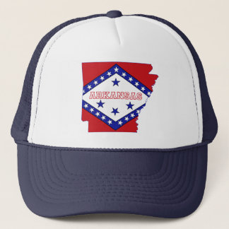 Arkansas State Map and Flag Trucker Hat