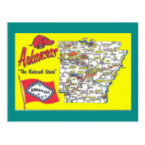 Arkansas State Map Postcard