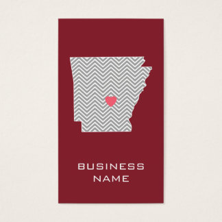 Arkansas State Map with Custom Red Heart and Name Business Card