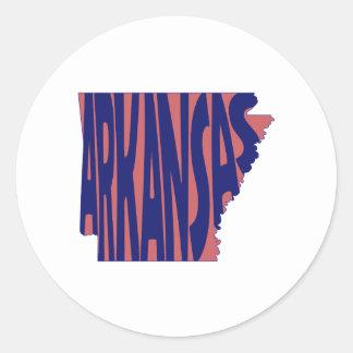 Arkansas State Name Word Art Blue Classic Round Sticker