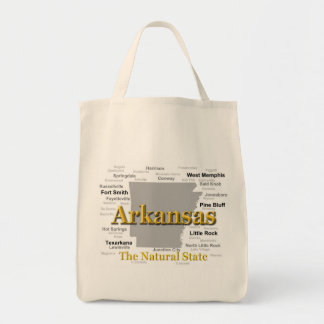 Arkansas State Pride Map Silhouette Canvas Bags