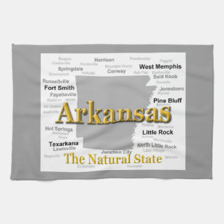Arkansas State Pride Map Silhouette Kitchen Towels