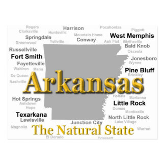 Arkansas State Pride Map Silhouette Postcard