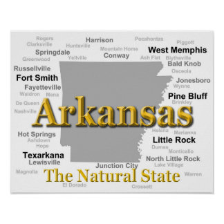 Arkansas State Pride Map Silhouette Posters