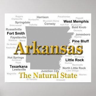 Arkansas State Pride Map Silhouette Poster