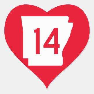 Arkansas State Route 14 Heart Sticker