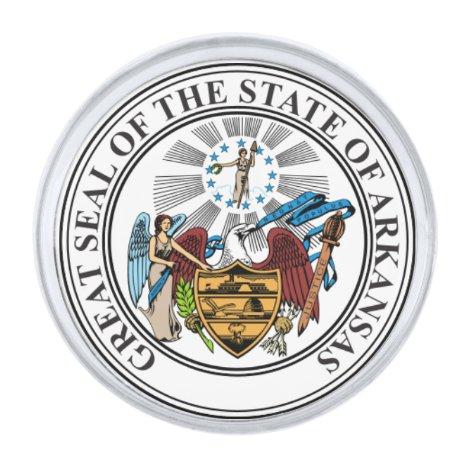 Arkansas State Seal Silver Finish Lapel Pin