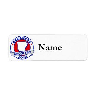 Arkansas Thad McCotter Return Address Label