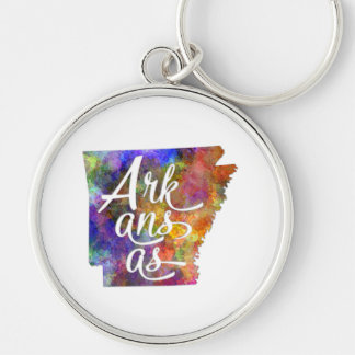 Arkansas U.S. State in watercolor text cut out Silver-Colored Round Keychain
