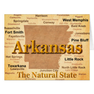 Arkansas Vintage Style Map Card