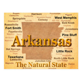 Arkansas Vintage Style Map Postcard