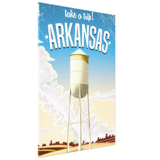 Arkansas Water Tower Vintage Travel poster Canvas Print