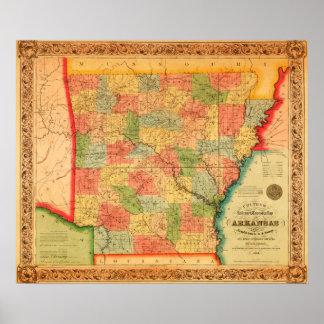 ArkansasPanoramic MapArkansas Print