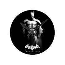 Arkham City   Batman Black and White Wide Pose Round Clock