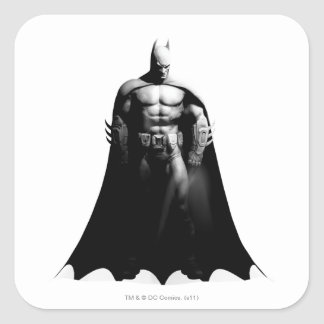 Arkham City   Batman Black and White Wide Pose Square Sticker