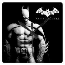 Arkham City   Batman Black and White Wide Pose Square Wall Clock
