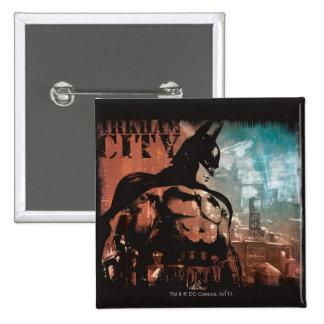 Arkham City Batman mixed media Buttons