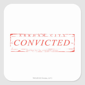 Arkham City Convicted Stamp Square Sticker