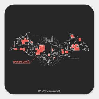 Arkham City Diagram Square Stickers