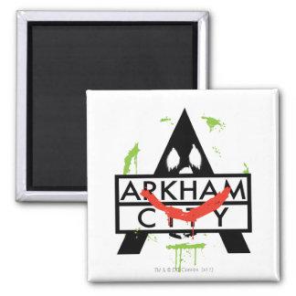 Arkham City Icon w/ Joker marks 2 2 Inch Square Magnet