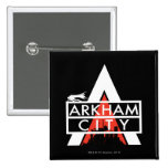 Arkham City Logo White 2 Inch Square Button