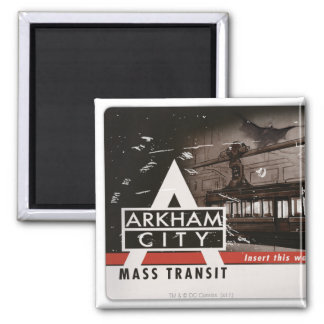 Arkham City Mass Transit Pass 2 Inch Square Magnet