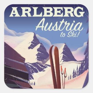 Arlberg Austria ski travel poster Square Sticker