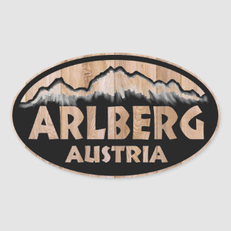 Arlberg Austria wooden sign oval stickers