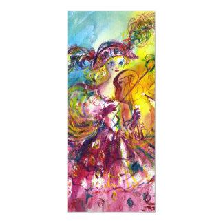 ARLECCHINA VIOLINIST  Mardi Gras Masquerade Party 4x9.25 Paper Invitation Card