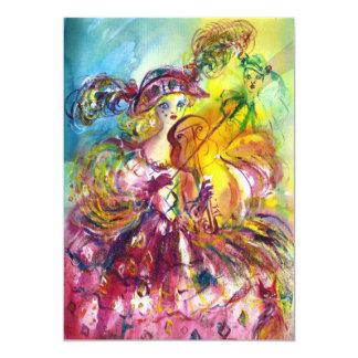 ARLECCHINA VIOLINIST  Mardi Gras Masquerade Party 5x7 Paper Invitation Card