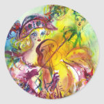 ARLECCHINA  VIOLINIST / Venetian Carnival Night Round Stickers