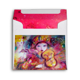 ARLECCHINO AND COLOMBINA bright pink red white Envelope