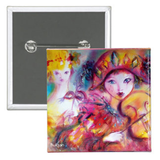 Arlecchino and Colombina Pinback Buttons