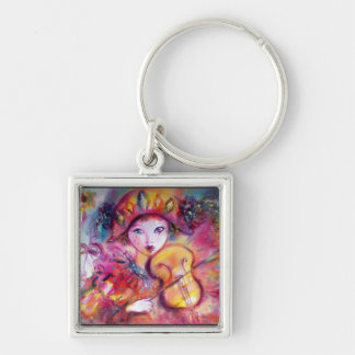 ARLECCHINO AND COLOMBINA  detail Silver-Colored Square Keychain