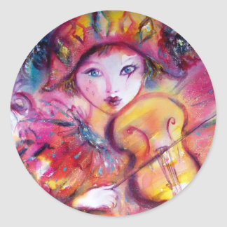 ARLECCHINO AND COLOMBINA ,Pink Fuchsia Yellow Blue Classic Round Sticker