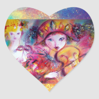 ARLECCHINO AND COLOMBINA ,Pink Fuchsia Yellow Blue Heart Sticker